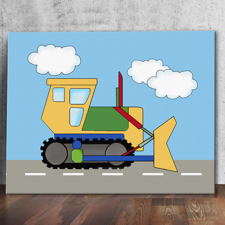 Under Construction Theme Kids Stretched Canvas Bulldozer Wall Art