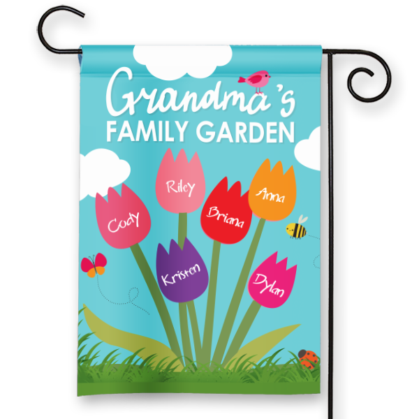 Grandmas Family Garden Design Personalized HouseGarden Flag
